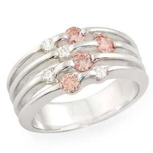 1/2ct Pink & White Round cut 14K White Gold Diamond Ring Jewelry