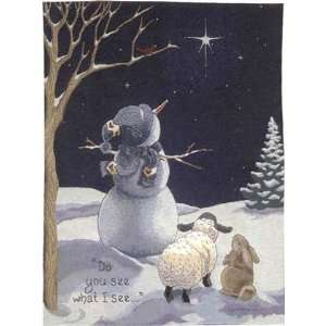 Snowman Star of Wonder Tapestry Wall Hanging Home & Kitchen