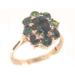 Luxury Ladies Solid Rose Gold Very Fiery Opal Cluster Ring   Size 7