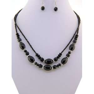 Fashion Jewelry ~ Black Beads Necklace and Earrings Set (Style 10987