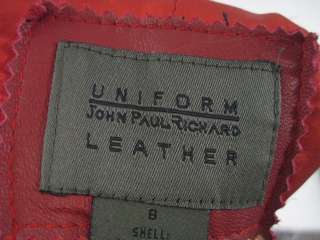 UNIFORM JOHN PAUL RICHARD Red Leather Jacket Coat Sz 8