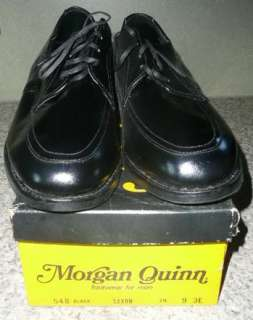 VTG STYLE MENS BLACK TIE OXFORD CASUAL DRESS SHOES #MQ548 NEW OLD 9 XW