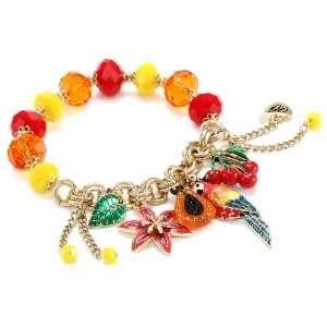 Betsey Johnson Rio Parrot Multi Charm Half Stretch Bracelet