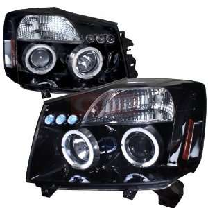 Nissan Titan Halo Projector Headlight Gloss Black Housing
