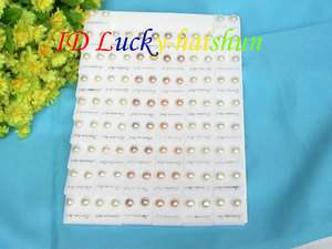 50pcs MIX white pink purple pearl Earrings 925ss Stud