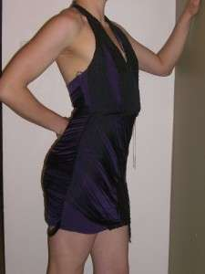 BEBE Purple Camilla Black Fringe Sequin Halter Top Dress, NWT $169