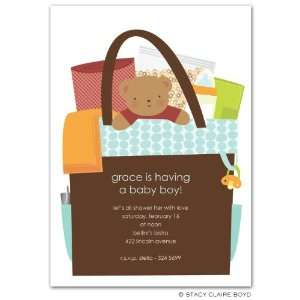 All In The Bag Blue Baby Shower Invitations