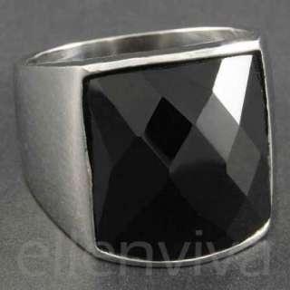 Mens Black Stone Square Cut S. Steel Ring Size 6 Chrome Silver Tone