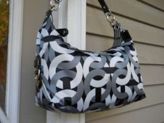 NEW AUTH Coach Madison Black/Grey/White Chainlink SIG Hailey Hobo