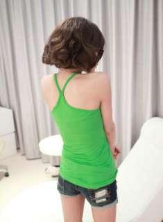 Lovely Candy Color Y Shape Vest Soft Cotton Cami Tank Top 10 Color