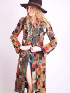 Vtg PATCHWORK LEATHER Hippie Gypsy BELL Sl Hand CRAFTED Dress Coat