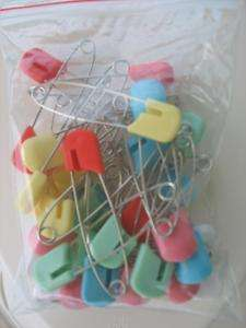 36 Baby Cloth Diaper Pins Plastic Head Assorted