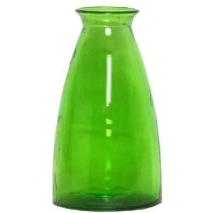 Spanish Large Recycled Lime Green Glass Vase 12H