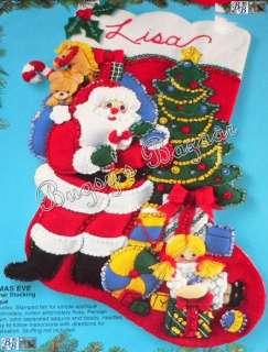 Bucilla CHRISTMAS EVE Santa & Toys Felt Stocking Kit
