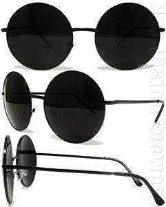 Large Round Frame Vintage Style Sunglasses Super Dark Lenses 033 Black