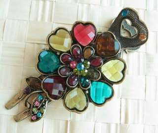 VARY COLORS SWAROVSKI CRYSTAL BIG BRONZE BLOSSOM HAIR BARRETTE CLIP