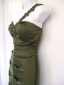 XSCAPE green stretch satin 1 shoulder dress $198 NWT 12