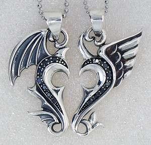 925 Sterling Silver Split Angel Heart Lover/Couple/Friends Pendant