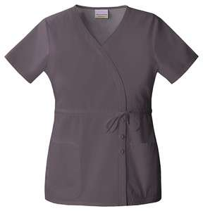 Skechers Mock Wrap Scrub Top in Dark Grey (BUY 5 ITEMS GET FREE