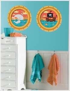 New PIRATES SHIP WALL WINDOWS DECALS Whale Stickers Boys Nursery Ocean