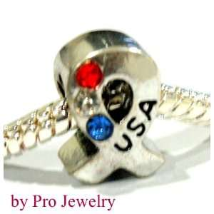 Pro Jewelry Antique Silver Support Our Troops Red White
