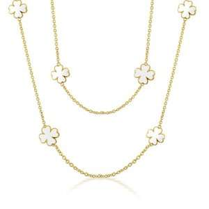 Lauren G Adams Gold Plated White Clover Necklace 42in Jewelry