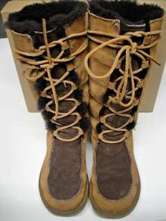 UGG AUSTRALIA AUTHENTIC CHESTNUT UPTOWN TALL LACE UP BOOTS, WOMENS