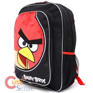 Angry Birds School Backpack 16 Large Bag w/ Big Red Bird Plush