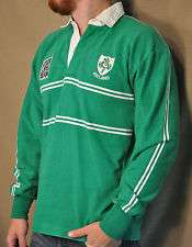 RUGBY WEAR BARBARIAN Green White No. 99 Irish Thick Patches Mens Shirt