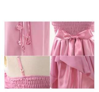 Women Elegant Bow Ribbon Chiffon Dress 8316B,PINK,1 sz