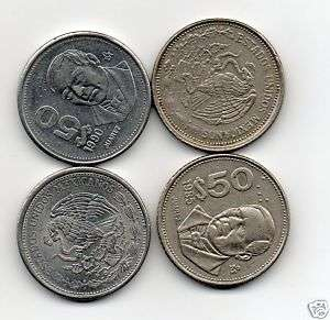Four 50 Peso coins Mexico 1985;1988;1990 $50 |