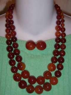 Vtg Chunky Cherry Amber Bakelite Bead 2 Necklace Earrings Set 145g No