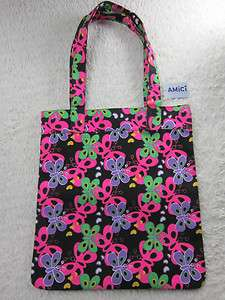 NWT AMICI ACCESSORIES GIRL TEEN BLACK PINK BUTTERFLY HEART CANVAS TOTE