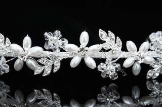 Handmade Rhinestone Crystal Pearl Flower Star Bridal Wedding Headband