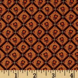 44 Wide Spice Chest Diamond Hearts Burnt Orange Fabric