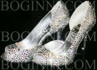 DIAMOND CRYSTAL 3.5 MID HEEL PEEPTOE WEDDING BRIDAL PROM SHOES