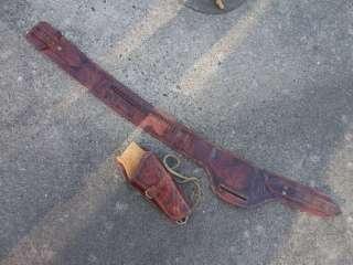 Vintage Hand Tooled Leather Cowboy Belt & Holster Set