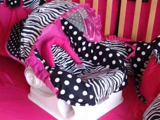 Custom made Hot pink /Zebra dot car seat /Stroller covers