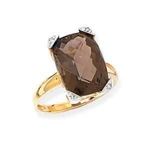 14k Gold, Diamond & Smoky Quartz Ring (0.01ctw)  Size 5