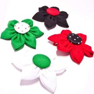 Little Miss Purple Set of 4 Large Fabric Flower Hair Clips