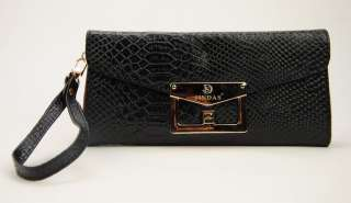 Women Genuine Leather Clutch Handbag Python Snake Embossed Wrist Purse
