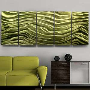 Modern Abstract Green Jewel Toned Office Metal Wall Art Sculpture