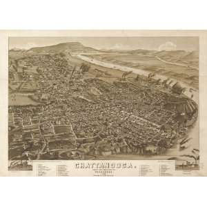 Panoramic Map Chattanooga, county seat of Hamilton County, Tennessee
