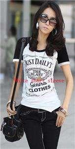 Casual women asymmetrical cotton graphic tee T shirt top long/short