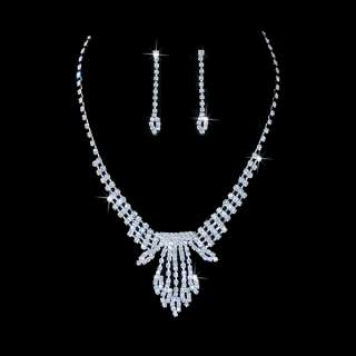 Bridal Jewelry Set Austrian Crystal Rhinestone White CL