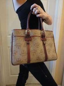 Authentic Large DOONEY & BOURKE Brown/Tan DONEGAL CREST Double Handle