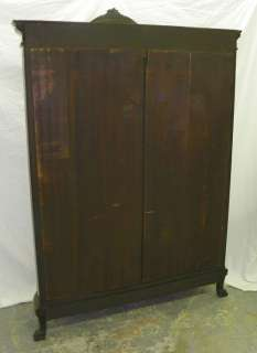 Antique Oak Curved Glass China or Curio Cabinet Carved Crest Claw Feet