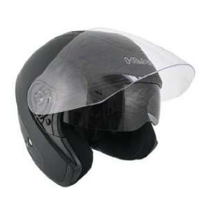 Hawk Flat Black Dual Visor Open Face Motorcycle Helmet Sz S