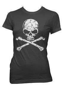 Big Skull and Crossbones Goth Punk Emo Girls T Shirt