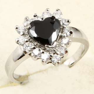 8mm HEART CUT BLACK SAPPHIRE *98* RING